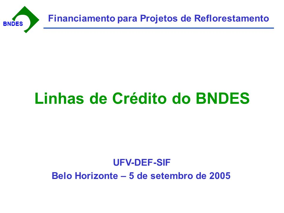 BNDESBNDES Financiamento para Projetos de Reflorestamento Linhas de Crédito do BNDES Belo Horizonte – 5 de setembro de 2005 UFV-DEF-SIF
