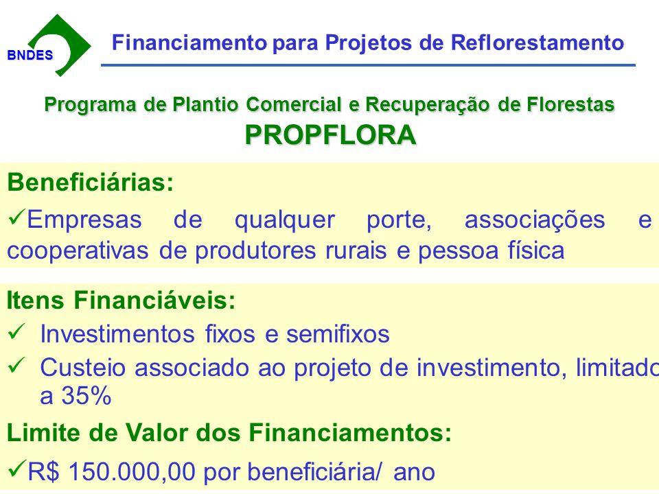 BNDESBNDES Financiamento para Projetos de Reflorestamento Itens Financiáveis: Investimentos fixos e semifixos Custeio associado ao projeto de investimento, limitado a 35% Beneficiárias: Empresas de qualquer porte, associações e cooperativas de produtores rurais e pessoa física Limite de Valor dos Financiamentos: R$ 150.000,00 por beneficiária/ ano Programa de Plantio Comercial e Recuperação de Florestas PROPFLORA