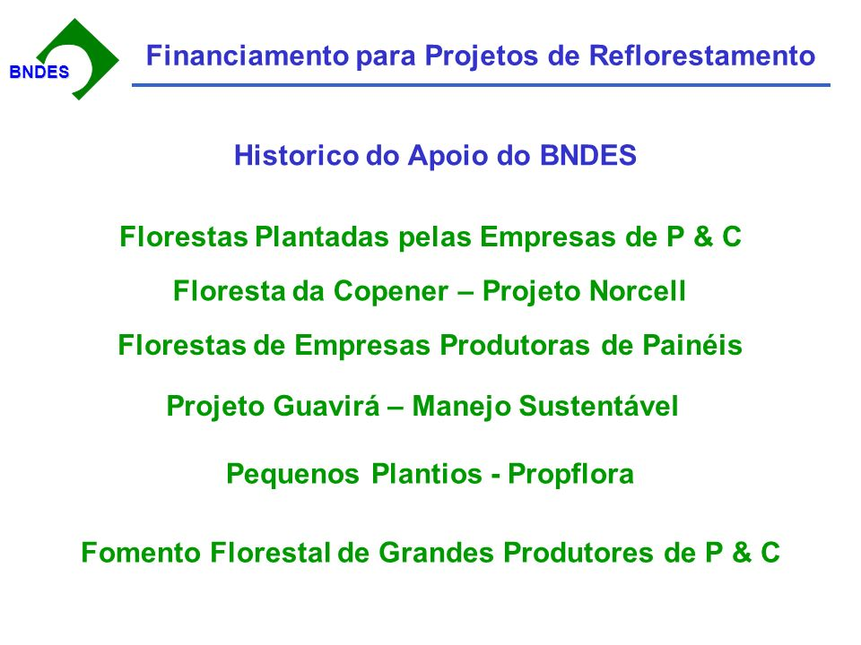 BNDESBNDES Financiamento para Projetos de Reflorestamento Historico do Apoio do BNDES Florestas Plantadas pelas Empresas de P & C Floresta da Copener