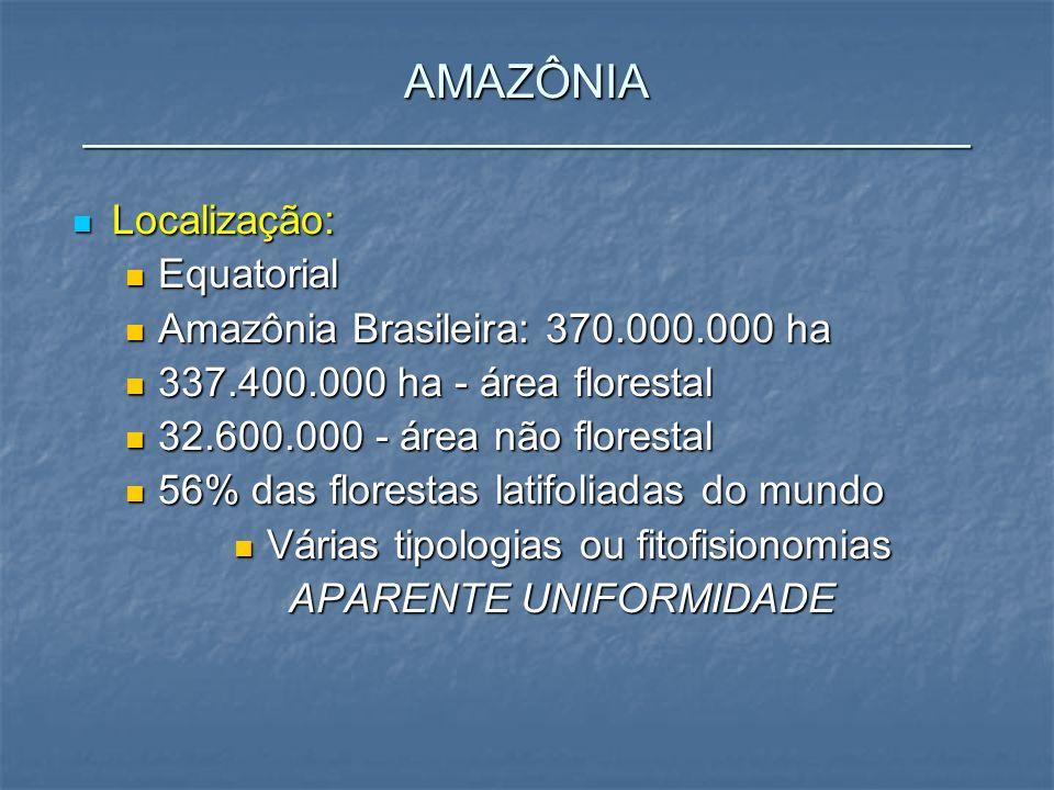 AMAZÔNIA __________________________________ Localização: Localização: Equatorial Equatorial Amazônia Brasileira: 370.000.000 ha Amazônia Brasileira: 3