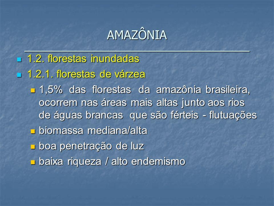 1.2. florestas inundadas 1.2. florestas inundadas 1.2.1. florestas de várzea 1.2.1. florestas de várzea 1,5% das florestas da amazônia brasileira, oco