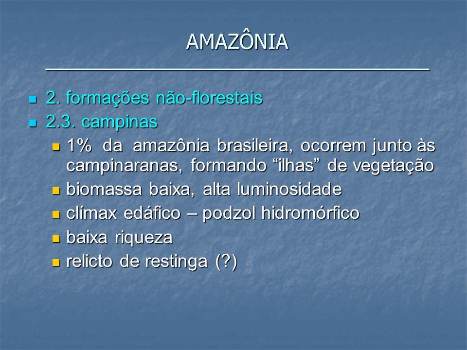 2. formações não-florestais 2. formações não-florestais 2.3. campinas 2.3. campinas 1% da amazônia brasileira, ocorrem junto às campinaranas, formando