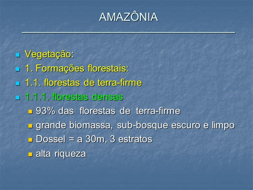 Vegetação: Vegetação: 1. Formações florestais: 1. Formações florestais: 1.1. florestas de terra-firme 1.1. florestas de terra-firme 1.1.1. florestas d