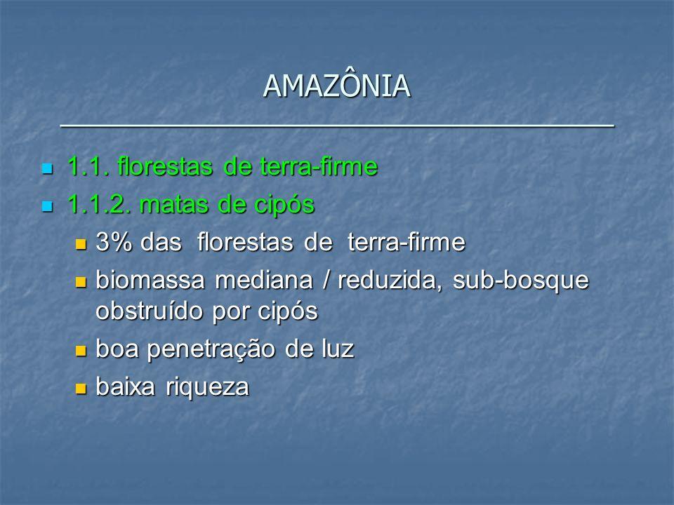 1.1. florestas de terra-firme 1.1. florestas de terra-firme 1.1.2. matas de cipós 1.1.2. matas de cipós 3% das florestas de terra-firme 3% das florest