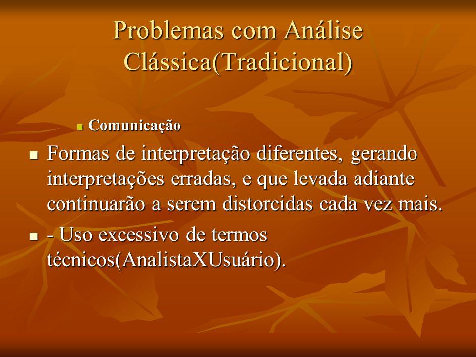 Problemas com Análise Clássica(Tradicional) Comunicação Comunicação Formas de interpretação diferentes, gerando interpretações erradas, e que levada a