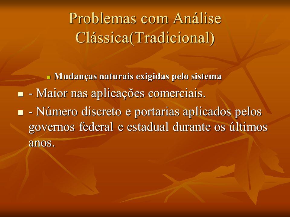 Problemas com Análise Clássica(Tradicional) Mudanças naturais exigidas pelo sistema Mudanças naturais exigidas pelo sistema - Maior nas aplicações com