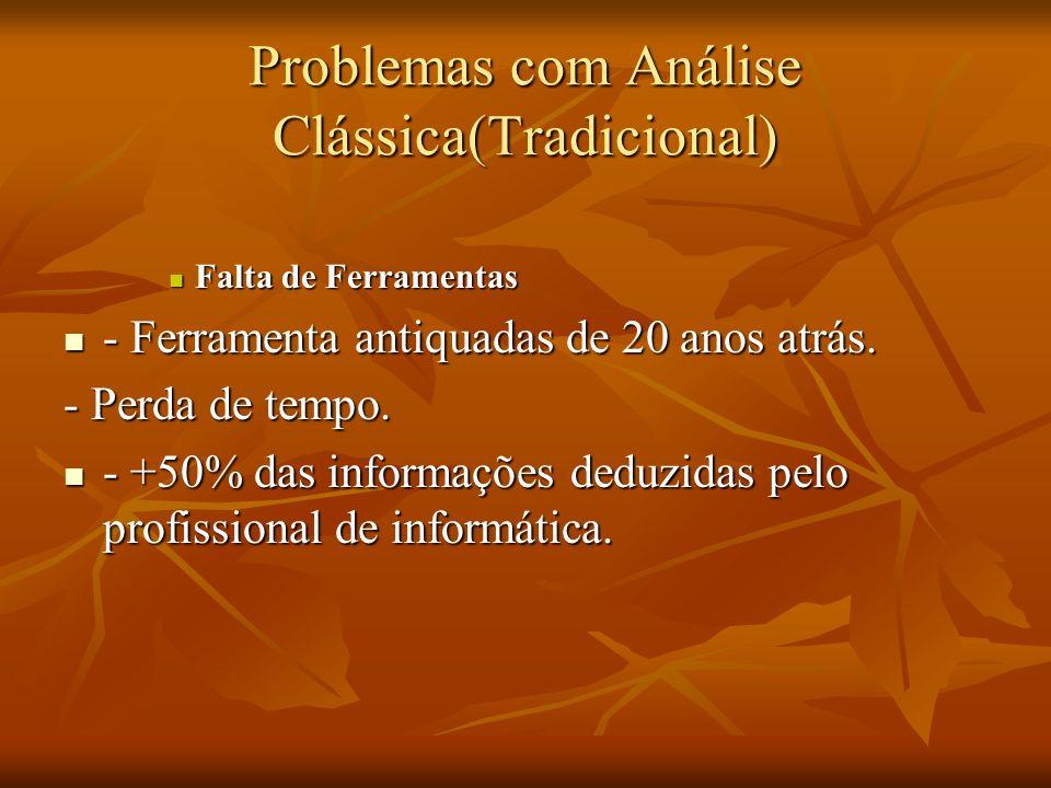 Problemas com Análise Clássica(Tradicional) Falta de Ferramentas Falta de Ferramentas - Ferramenta antiquadas de 20 anos atrás. - Ferramenta antiquada