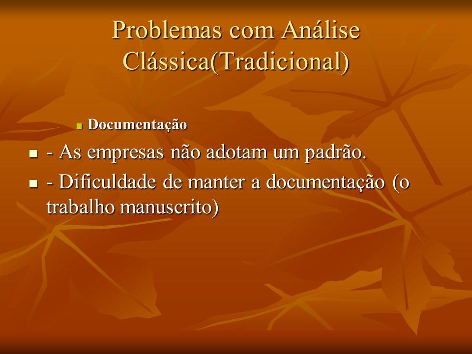 Problemas com Análise Clássica(Tradicional) Documentação Documentação - As empresas não adotam um padrão. - As empresas não adotam um padrão. - Dificu