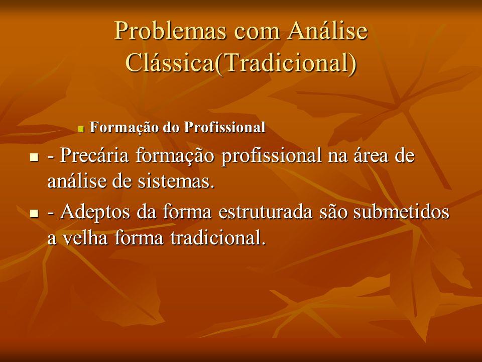 Problemas com Análise Clássica(Tradicional) Formação do Profissional Formação do Profissional - Precária formação profissional na área de análise de s