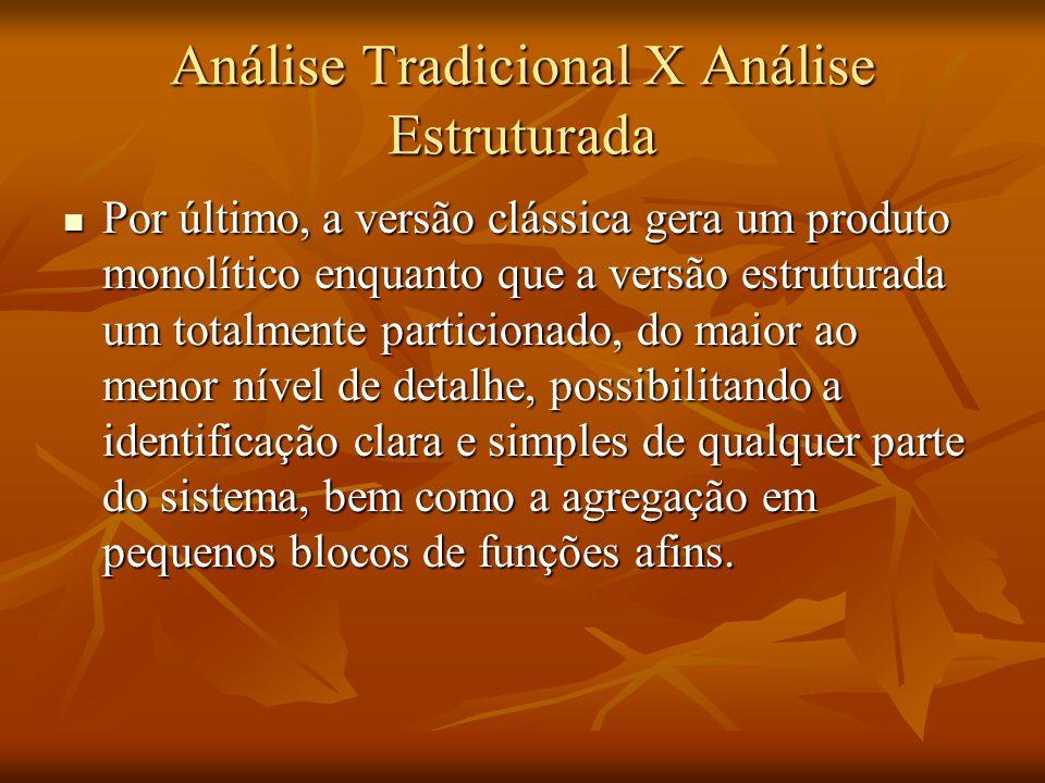 Análise Tradicional X Análise Estruturada Por último, a versão clássica gera um produto monolítico enquanto que a versão estruturada um totalmente par