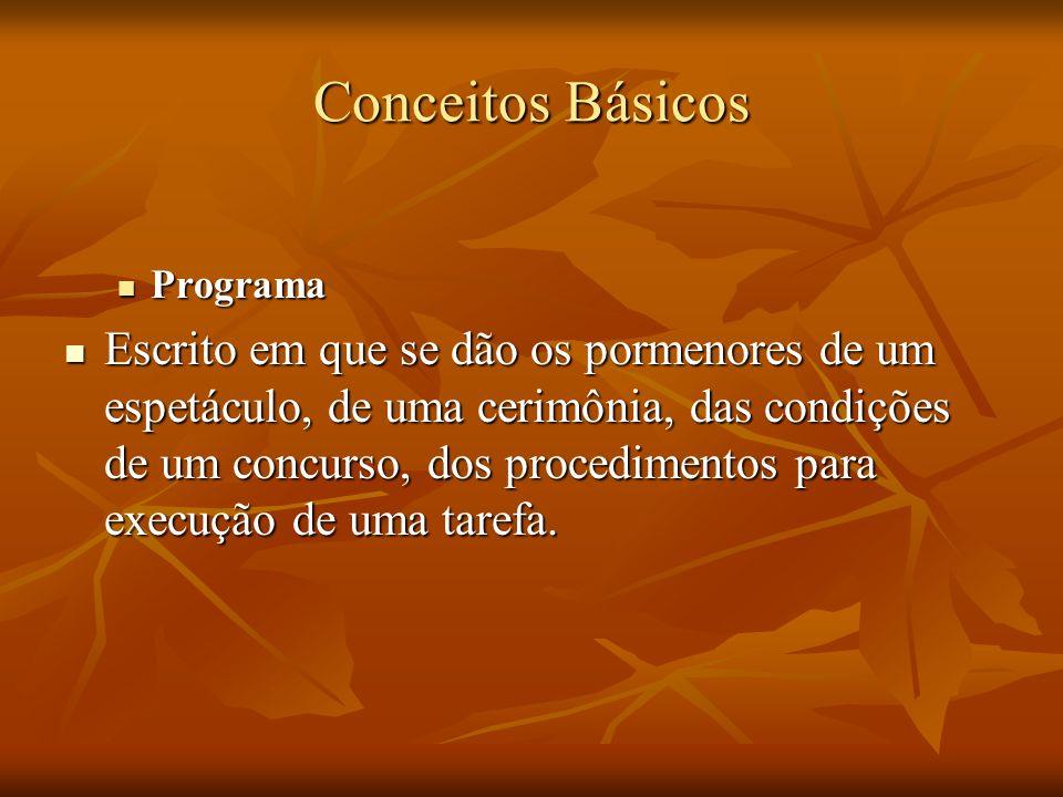 Conceitos Básicos Programa Programa Escrito em que se dão os pormenores de um espetáculo, de uma cerimônia, das condições de um concurso, dos procedim