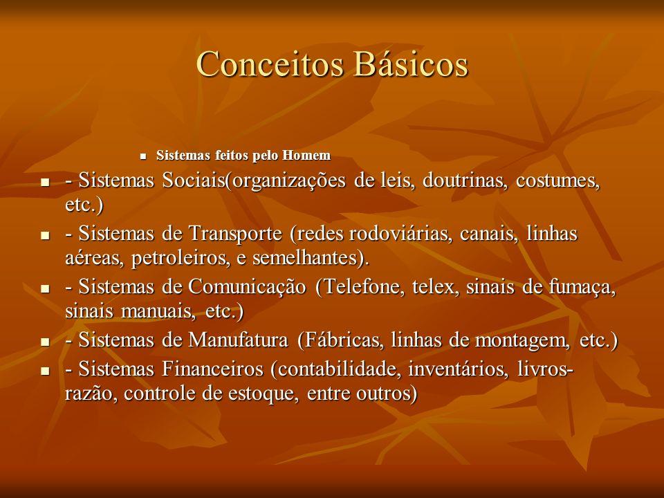 Conceitos Básicos Sistemas feitos pelo Homem Sistemas feitos pelo Homem - Sistemas Sociais(organizações de leis, doutrinas, costumes, etc.) - Sistemas