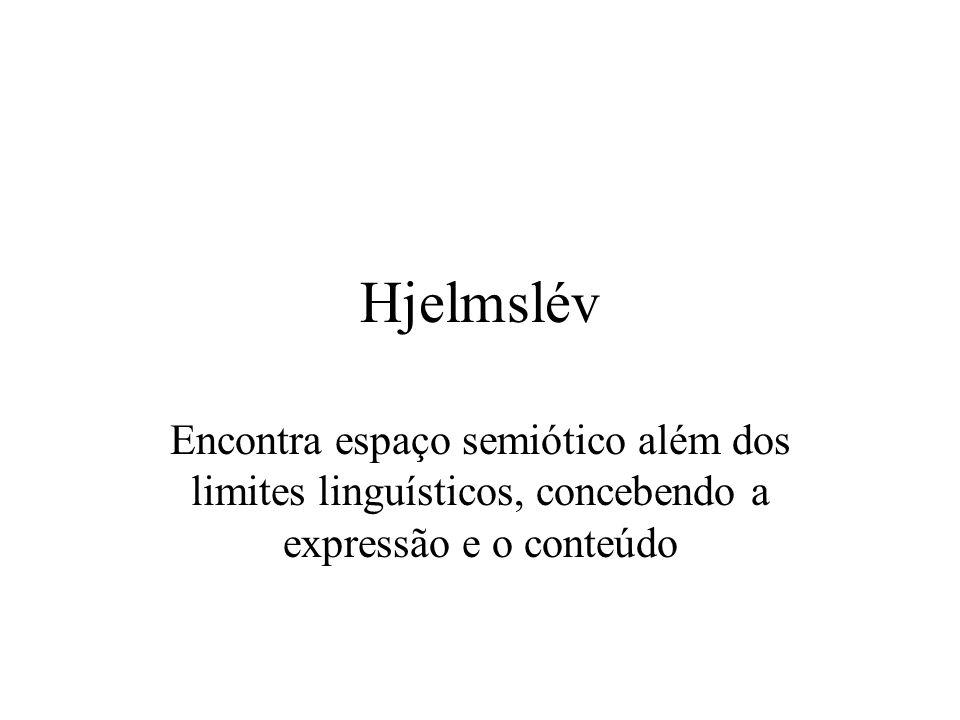 Hjelmslév Encontra espaço semiótico além dos limites linguísticos, concebendo a expressão e o conteúdo