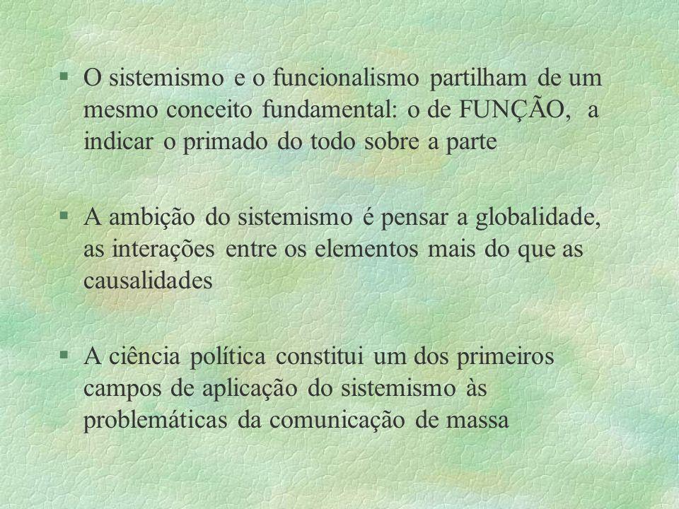 §O sistemismo e o funcionalismo partilham de um mesmo conceito fundamental: o de FUNÇÃO, a indicar o primado do todo sobre a parte §A ambição do siste