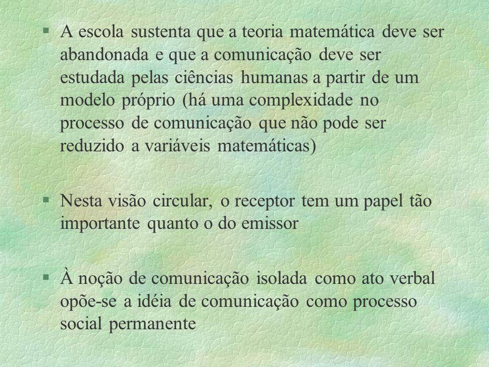 §A escola sustenta que a teoria matemática deve ser abandonada e que a comunicação deve ser estudada pelas ciências humanas a partir de um modelo próp