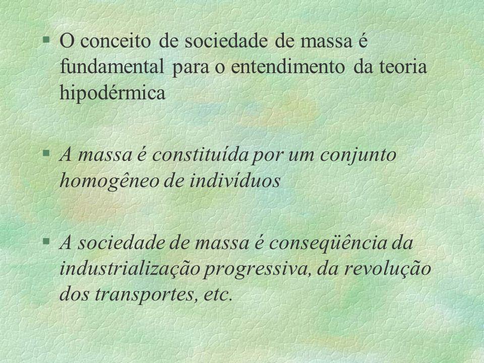 §O conceito de sociedade de massa é fundamental para o entendimento da teoria hipodérmica §A massa é constituída por um conjunto homogêneo de indivídu