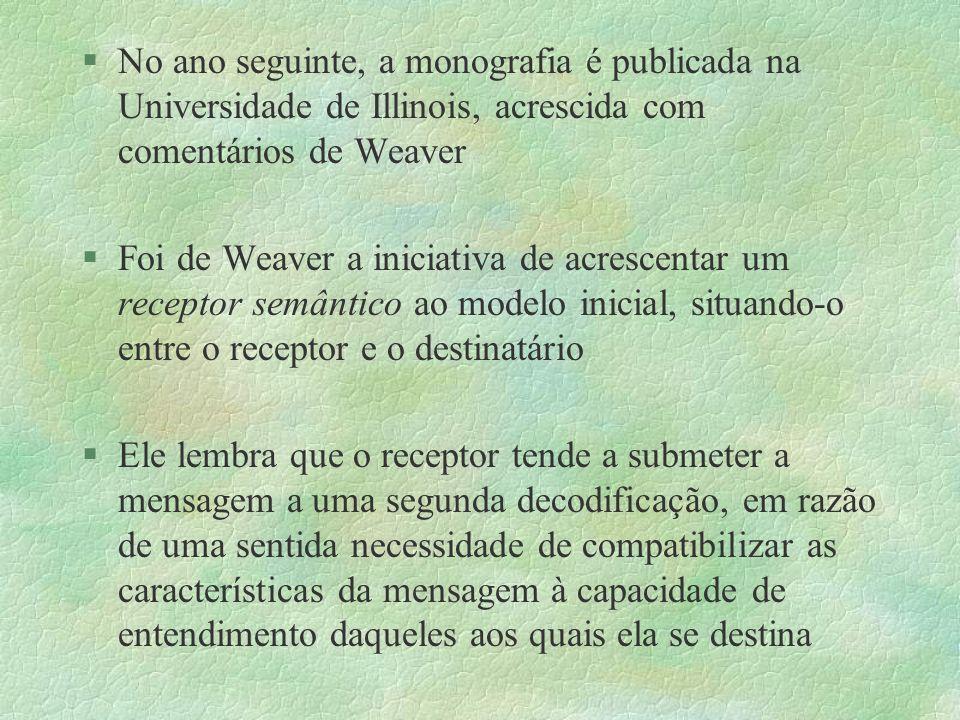 §No ano seguinte, a monografia é publicada na Universidade de Illinois, acrescida com comentários de Weaver §Foi de Weaver a iniciativa de acrescentar