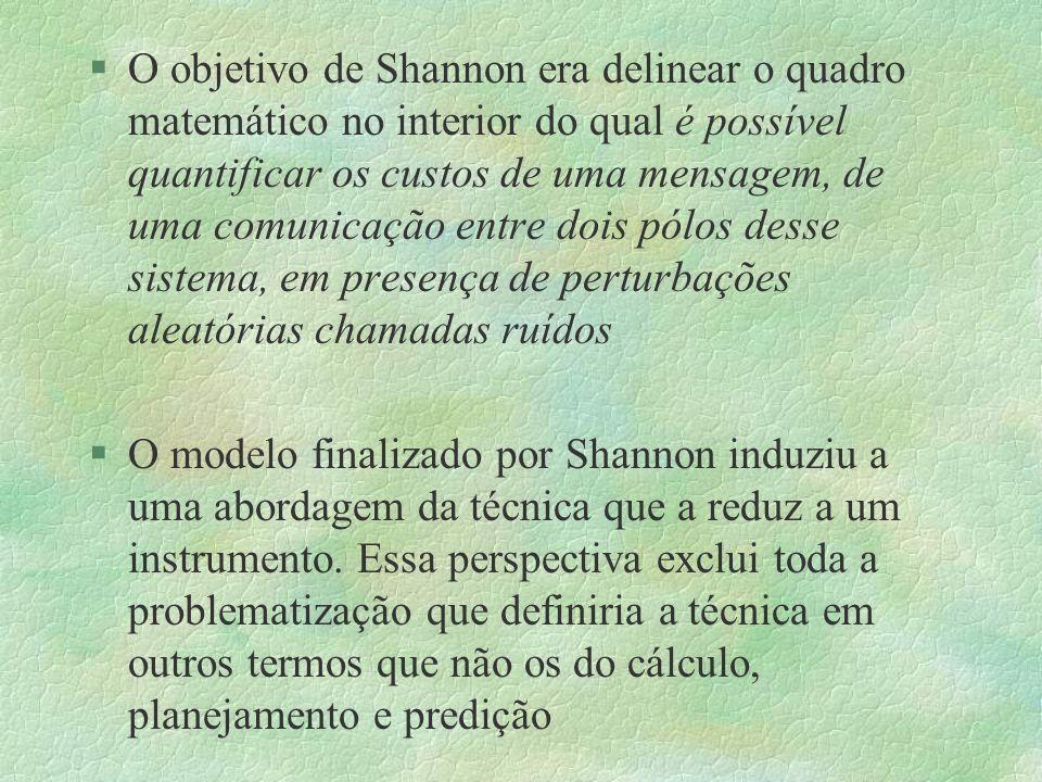 §O objetivo de Shannon era delinear o quadro matemático no interior do qual é possível quantificar os custos de uma mensagem, de uma comunicação entre