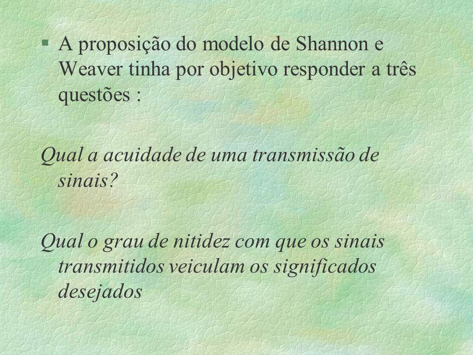 §A proposição do modelo de Shannon e Weaver tinha por objetivo responder a três questões : Qual a acuidade de uma transmissão de sinais? Qual o grau d