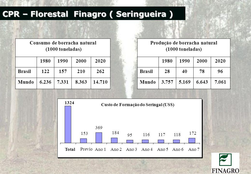 CPR – Florestal Finagro ( Seringueira ) Consumo de borracha natural (1000 toneladas) Produção de borracha natural (1000 toneladas) 1980199020002020 19
