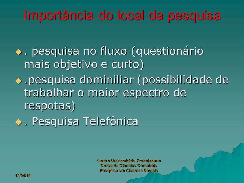 12/04/10 Centro Universitário Franciscano Curso de Ciencias Contábeis Pesquisa em Ciencias Sociais Importância do local da pesquisa.