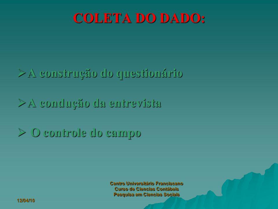 12/04/10 Centro Universitário Franciscano Curso de Ciencias Contábeis Pesquisa em Ciencias Sociais 2.