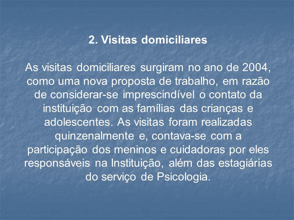 2. Visitas domiciliares As visitas domiciliares surgiram no ano de 2004, como uma nova proposta de trabalho, em razão de considerar-se imprescindível