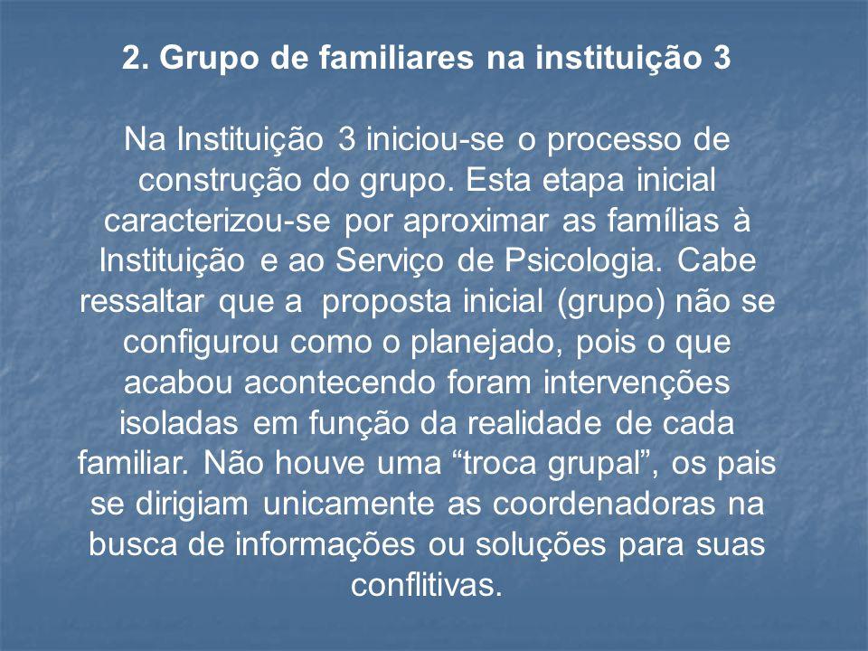 2. Grupo de familiares na instituição 3 Na Instituição 3 iniciou-se o processo de construção do grupo. Esta etapa inicial caracterizou-se por aproxima