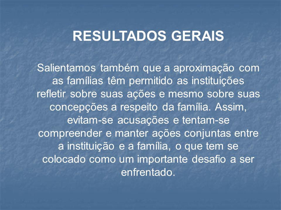 RESULTADOS GERAIS Salientamos também que a aproximação com as famílias têm permitido as instituições refletir sobre suas ações e mesmo sobre suas conc