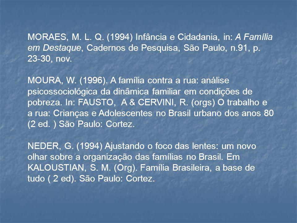 MORAES, M. L. Q. (1994) Infância e Cidadania, in: A Família em Destaque, Cadernos de Pesquisa, São Paulo, n.91, p. 23-30, nov. MOURA, W. (1996). A fam
