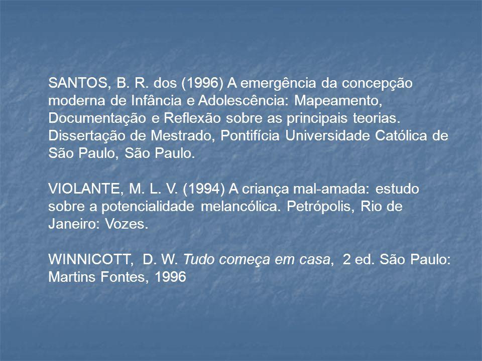 SANTOS, B. R. dos (1996) A emergência da concepção moderna de Infância e Adolescência: Mapeamento, Documentação e Reflexão sobre as principais teorias