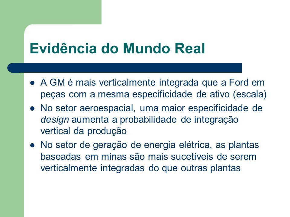 Evidência do Mundo Real A GM é mais verticalmente integrada que a Ford em peças com a mesma especificidade de ativo (escala) No setor aeroespacial, um