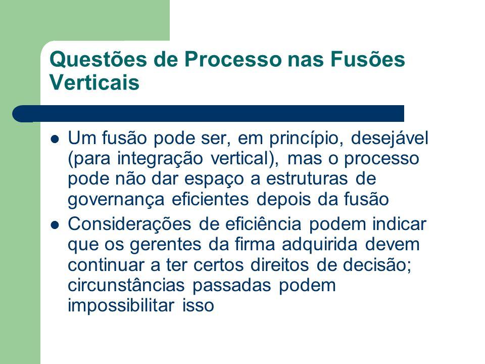 Questões de Processo nas Fusões Verticais Um fusão pode ser, em princípio, desejável (para integração vertical), mas o processo pode não dar espaço a