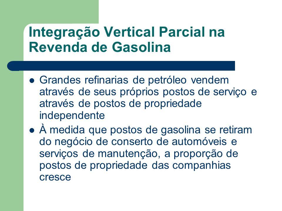 Integração Vertical Parcial na Revenda de Gasolina Grandes refinarias de petróleo vendem através de seus próprios postos de serviço e através de posto