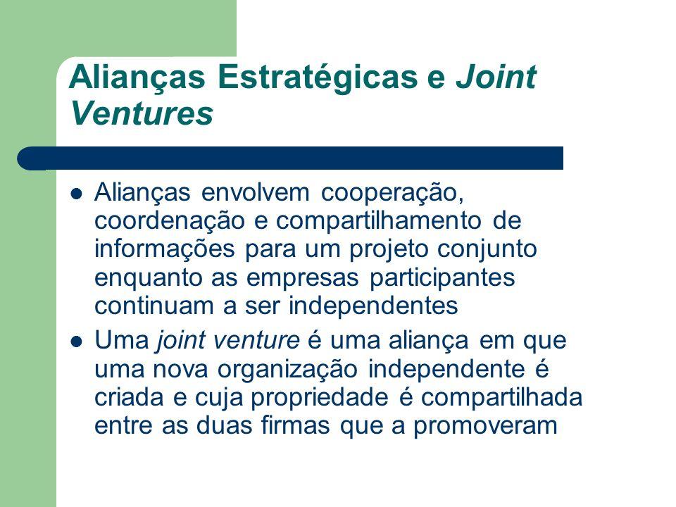 Alianças Estratégicas e Joint Ventures Alianças envolvem cooperação, coordenação e compartilhamento de informações para um projeto conjunto enquanto a