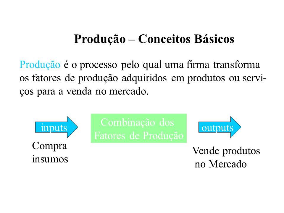Produção – Conceitos Básicos Mão-de-obra (N) Capital Físico (K) Área, Terra (T) Matéria-prima (M p ) Insumos Processo de Produção Produto (q) Obs.: Intensivo – Fator que é utilizado em maior quantidade Em função da eficiência