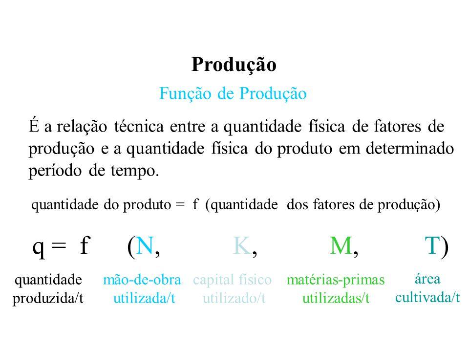 Produção Função de Produção É a relação técnica entre a quantidade física de fatores de produção e a quantidade física do produto em determinado período de tempo.