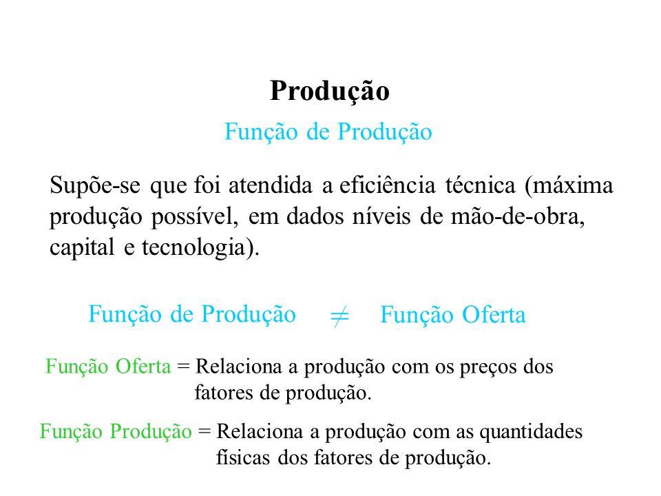 Produção Função de Produção Supõe-se que foi atendida a eficiência técnica (máxima produção possível, em dados níveis de mão-de-obra, capital e tecnologia).