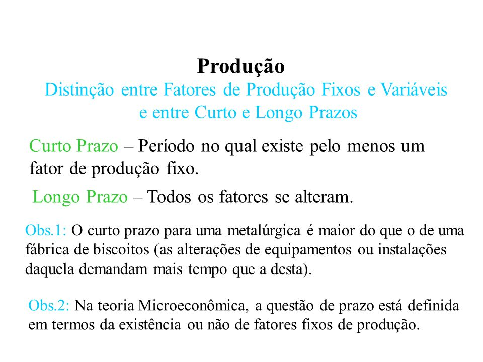 Produção Produção com um fator variável e um fixo: Uma análise de curto prazo.