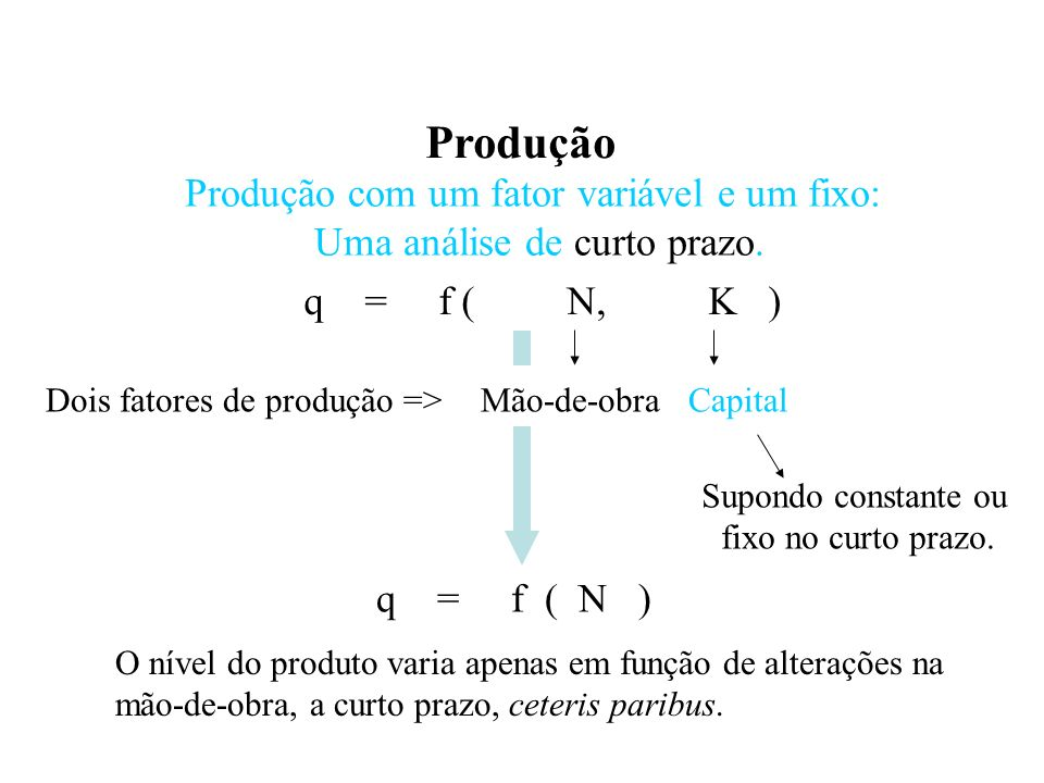 Produção Conceitos de Produto Total, Produtividade Média e Produtividade Marginal.