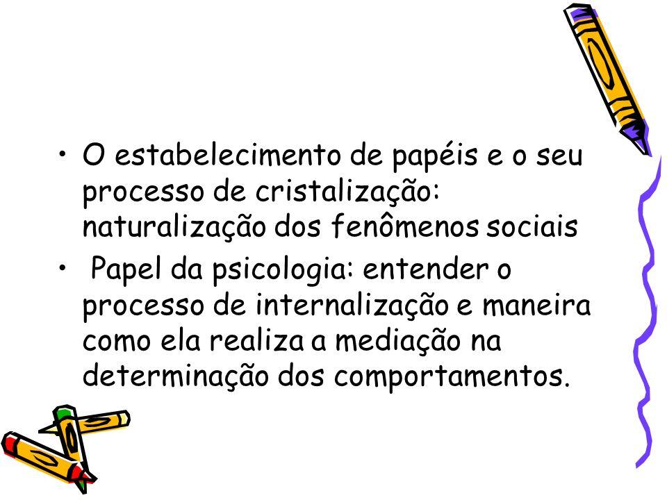 O estabelecimento de papéis e o seu processo de cristalização: naturalização dos fenômenos sociais Papel da psicologia: entender o processo de interna