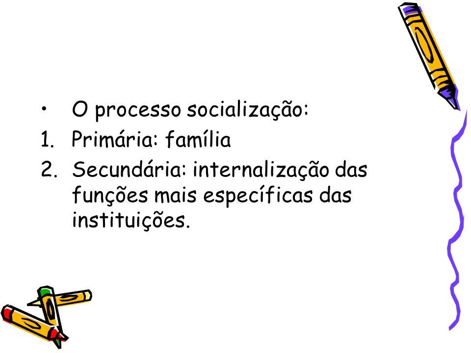 O processo socialização: 1.Primária: família 2.Secundária: internalização das funções mais específicas das instituições.