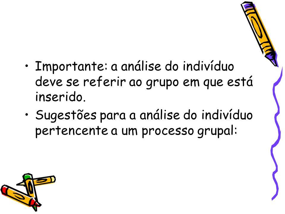 Importante: a análise do indivíduo deve se referir ao grupo em que está inserido. Sugestões para a análise do indivíduo pertencente a um processo grup