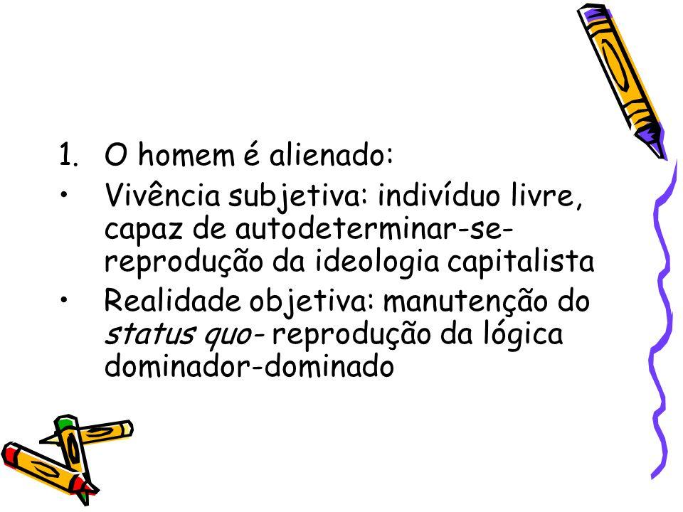 1.O homem é alienado: Vivência subjetiva: indivíduo livre, capaz de autodeterminar-se- reprodução da ideologia capitalista Realidade objetiva: manuten
