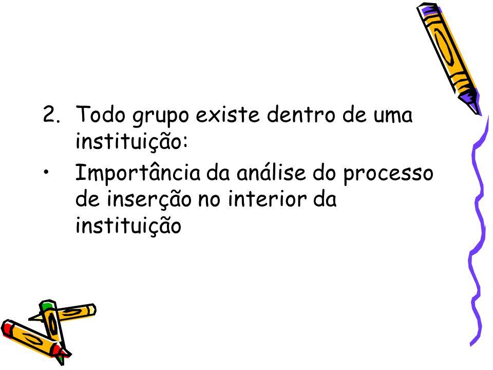 2.Todo grupo existe dentro de uma instituição: Importância da análise do processo de inserção no interior da instituição
