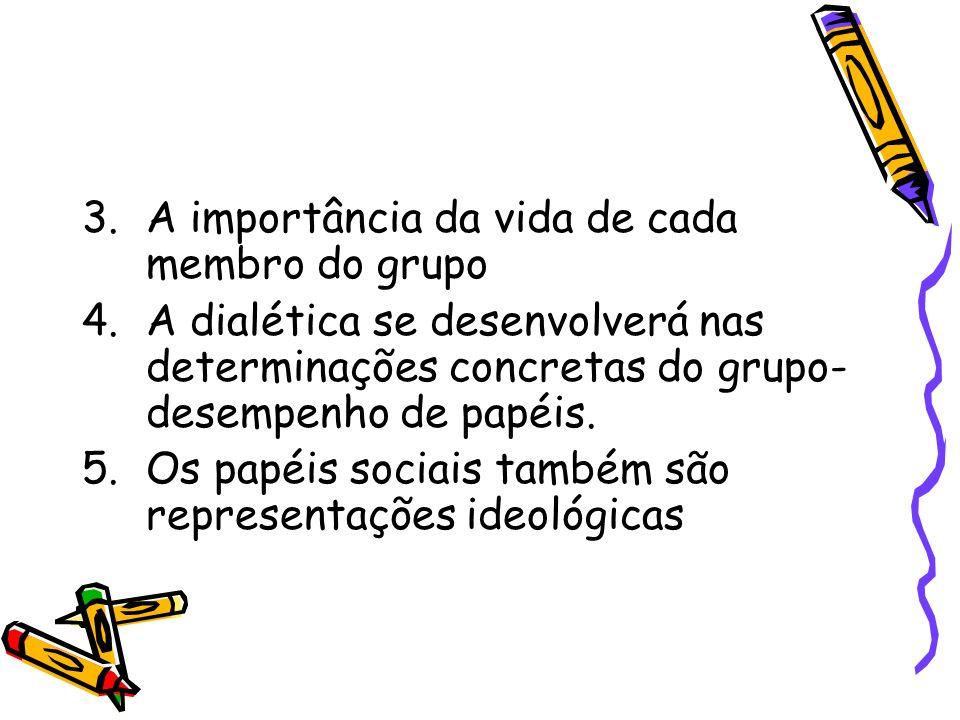 3.A importância da vida de cada membro do grupo 4.A dialética se desenvolverá nas determinações concretas do grupo- desempenho de papéis. 5.Os papéis