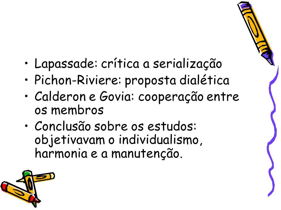Lapassade: crítica a serialização Pichon-Riviere: proposta dialética Calderon e Govia: cooperação entre os membros Conclusão sobre os estudos: objetiv