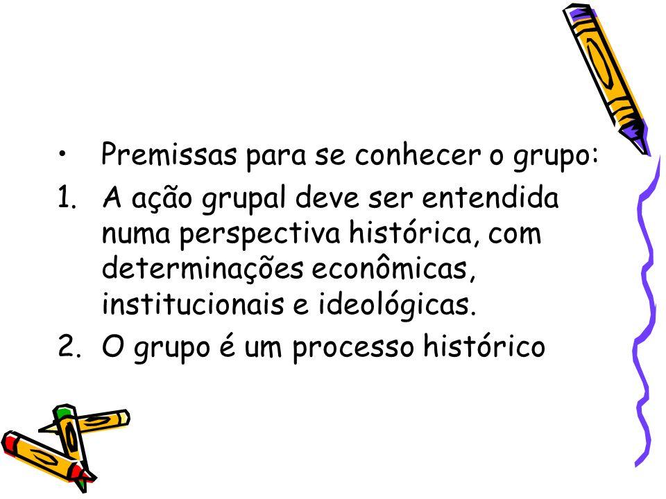Premissas para se conhecer o grupo: 1.A ação grupal deve ser entendida numa perspectiva histórica, com determinações econômicas, institucionais e ideo