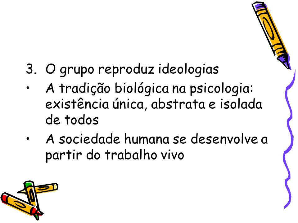 3.O grupo reproduz ideologias A tradição biológica na psicologia: existência única, abstrata e isolada de todos A sociedade humana se desenvolve a par