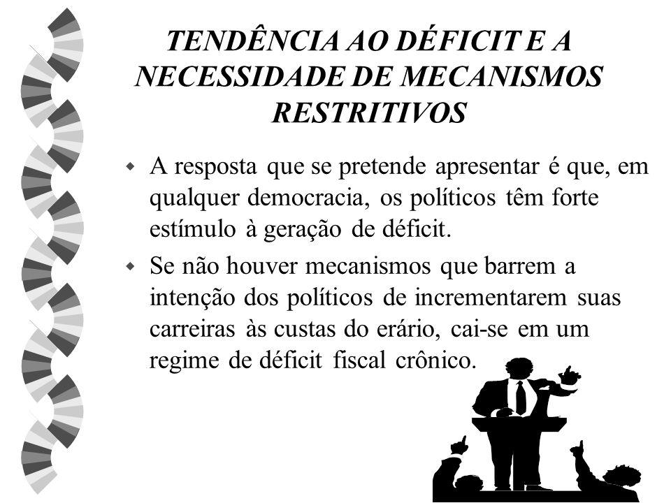 TENDÊNCIA AO DÉFICIT E A NECESSIDADE DE MECANISMOS RESTRITIVOS w A resposta que se pretende apresentar é que, em qualquer democracia, os políticos têm forte estímulo à geração de déficit.